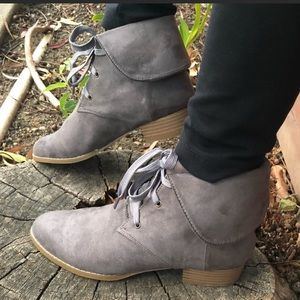 Shoes - Fold over Vegan Suede Lace Up Bootie oxfords